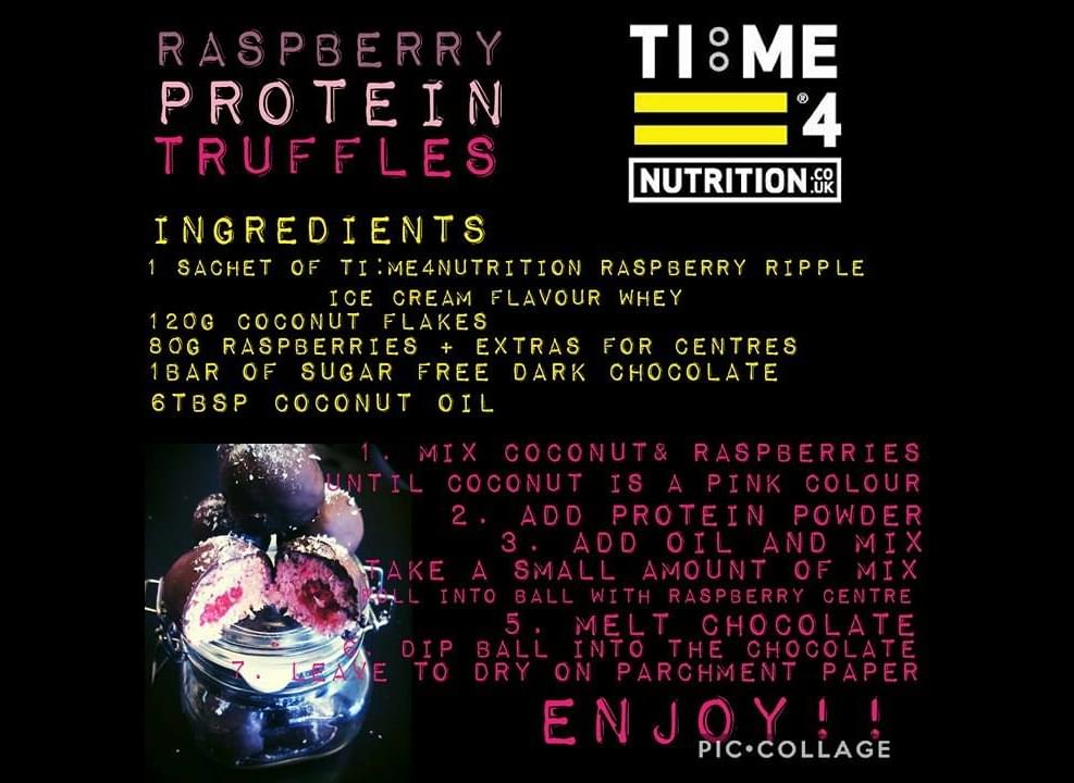 test Time 4 Raspberry Protein Truffles