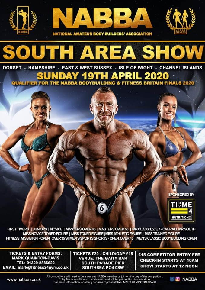 Time 4 Nutrition are proud to Sponsor The NABBA South Bodybuilding Competition 2020