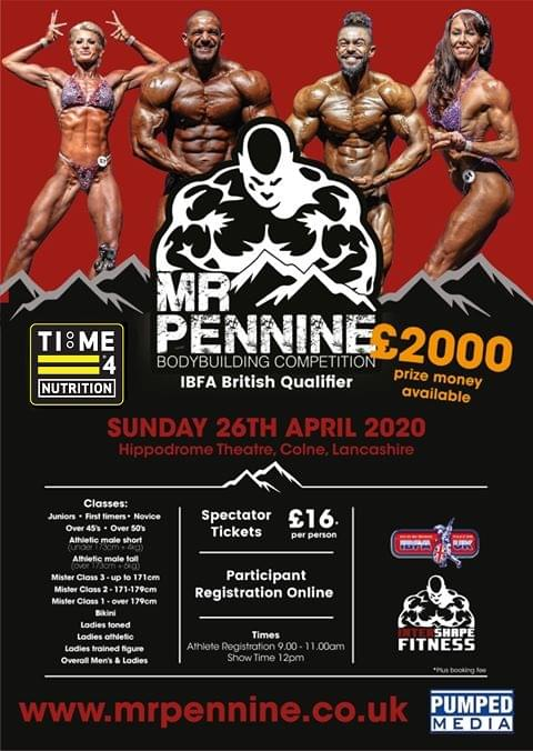Time 4 Nutrition are proud to Sponsor The Mr Pennine Bodybuilding Competition 2020
