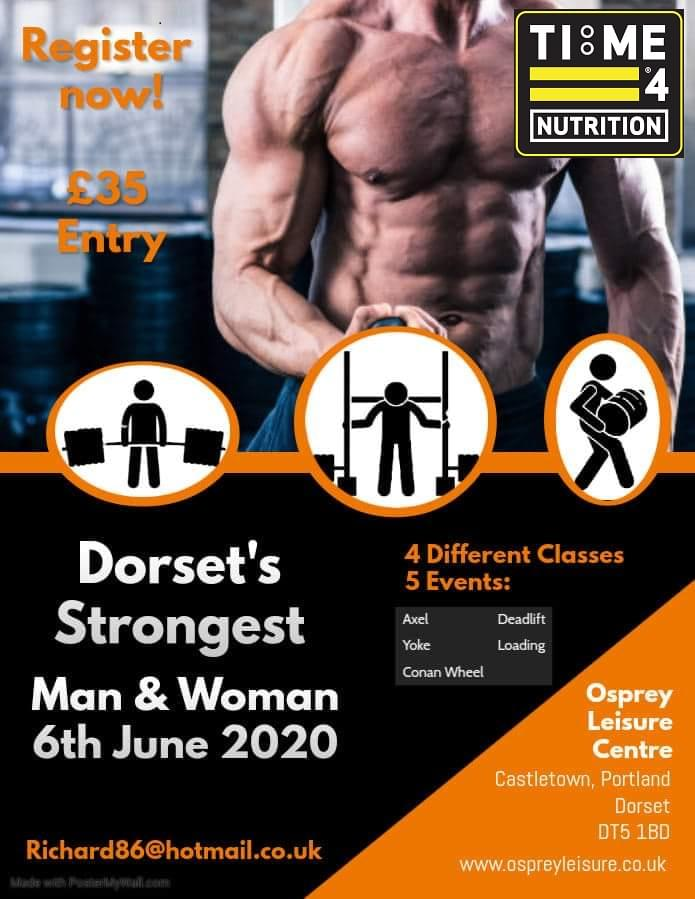 Time 4 Nutrition are proud to Sponsor Dorset Strongest Man & Woman 2020