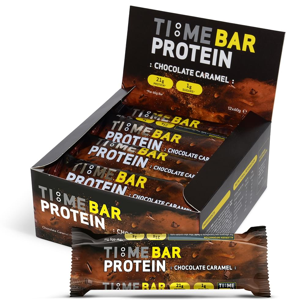 TIME BAR low carb chocolate caramel protein bars box of 12