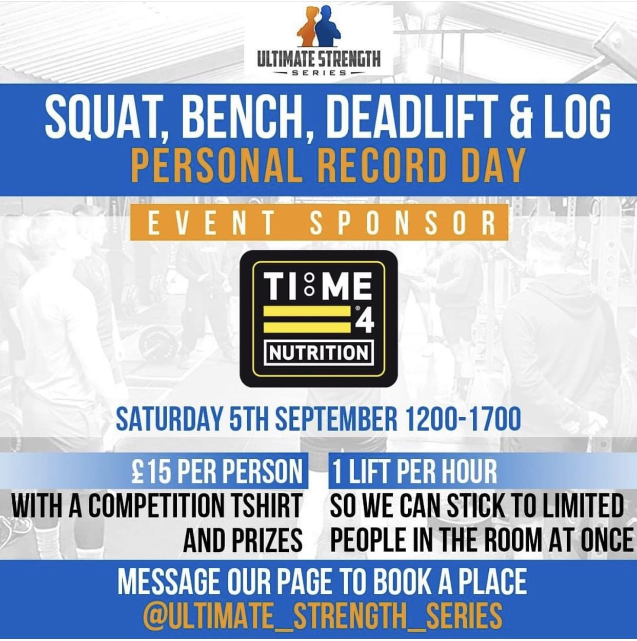 TIME 4 NUTRITION ARE PROUD TO SPONSOR THE Ultimate Strength Series SEPTEMBER 2020