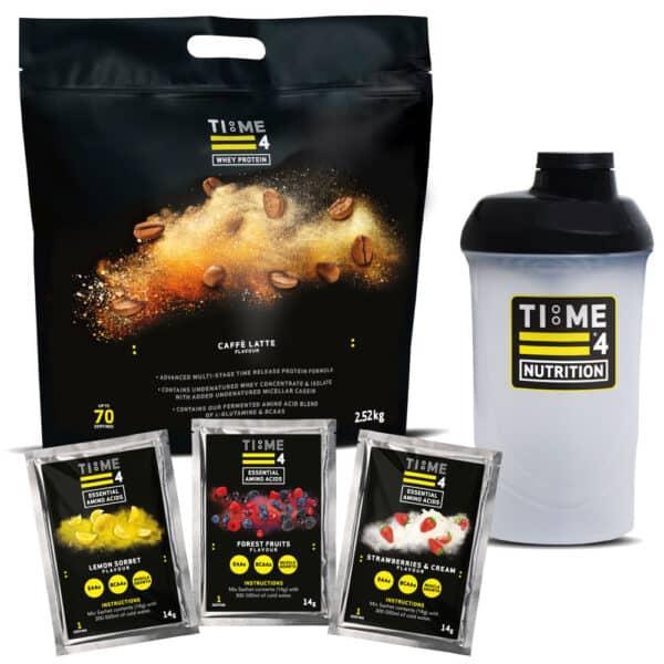 Time 4 Whey-Caffe Latte-EAAs Sachets-Shaker