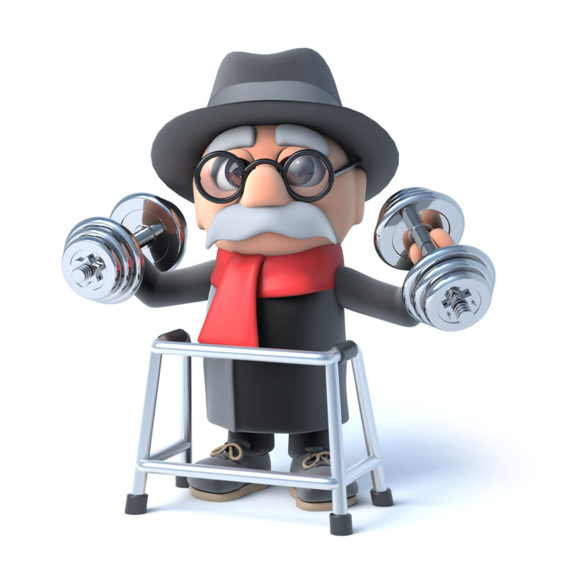 Whey-3d,Render,Of,An,Old,Man,With,His,Walking,Lifting