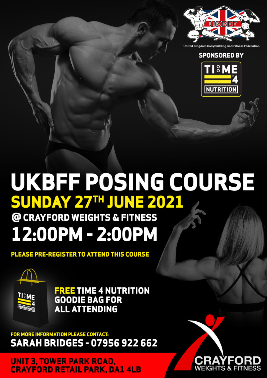 test TIME 4 NUTRITION ARE PROUD TO SPONSOR THE UKBFF POSING COURSE 27TH JUNE 2021