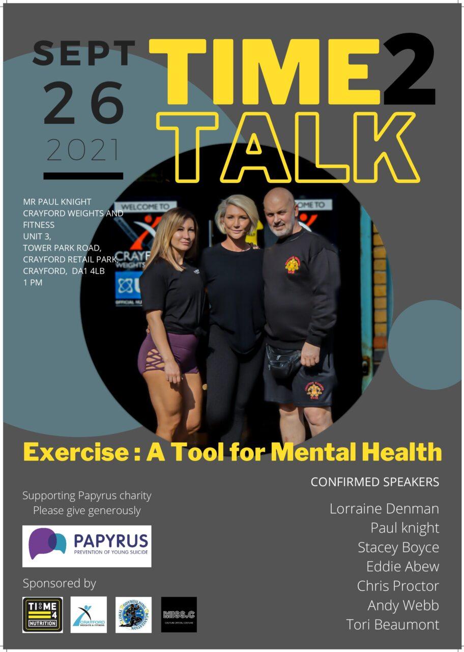 test TIME 4 NUTRITION ARE PROUD TO SPONSOR TIME TO TALK 26TH SEPTEMBER 2021