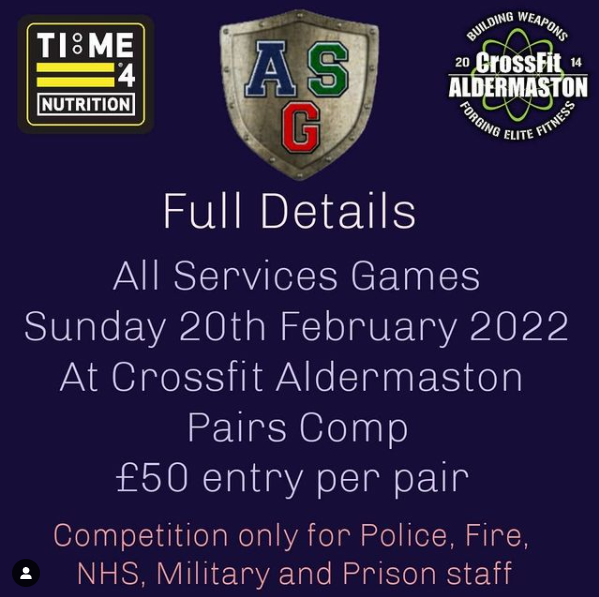 test TIME 4 NUTRITION ARE PROUD TO SPONSOR ALL SERVICES GAMES 20TH FEBRUARY 2022